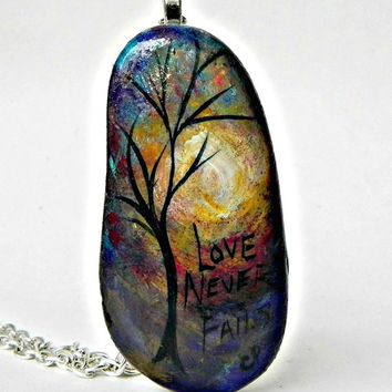 "Abstract TREE Necklace Love Never Fails Hand Painted Stone Pendant Silver 24"" Rolo Chain Necklace"