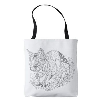 Colorable Cat Abstract Art Drawing Tote Bag