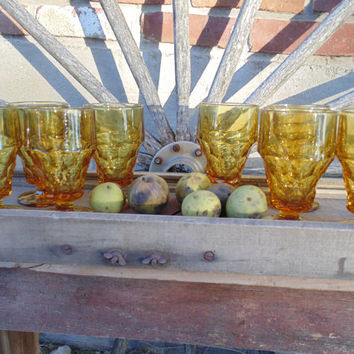 4 vintage Anchor Hocking Georgian Amber Topaz ice tea goblets, vintage amber glassware, retro honeycomb water glass, retro bar cart glasses