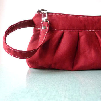 Cranberry Red Wristlet - Clutch - Pleated - Handmade