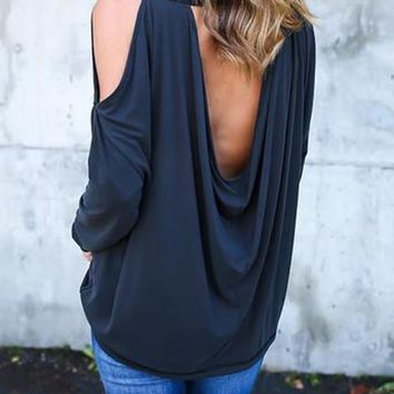 Navy Blue Cut Out Sleeve Backless Going out Casual T-Shirt
