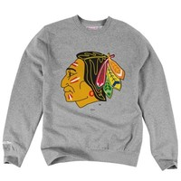 Mitchell & Ness Chicago Blackhawks Primary Logo Crew Neck Sweatshirt - Ash