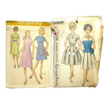 Two Vintage Simplicity Dress Pattern 9167 3969 Size 12 Bust 34 1960's Retro Clothes Pattern