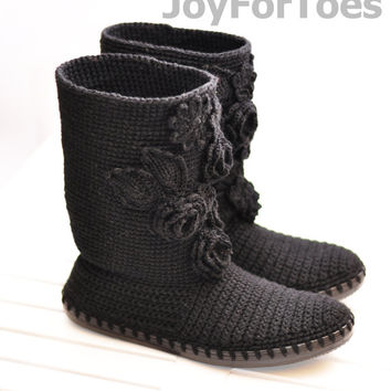 Crochet Women Boots Slippers for the Street Black Romantic Custom Made