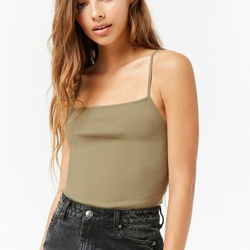 Ribbed Straight-Neck Cami