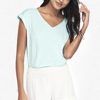 SILKY V-NECK TEE from EXPRESS