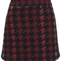 PETITE High-Waisted Check A-Line Skirt - Burgundy