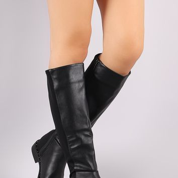 Bamboo Studded Back Elastane Riding Knee High Boots