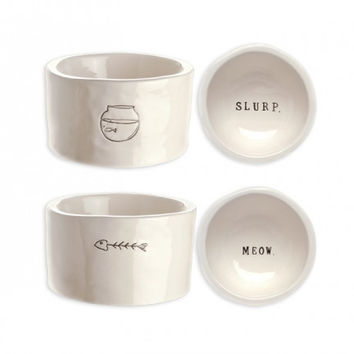 "Cat Bowls ""Slurp"" + ""Meow"", Set of 2"