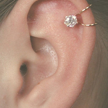 CZ Ear Cuff  with 4mm Cubic Zirconia - Sterling Silver or 14K Gold filled - SINGLE SIDE