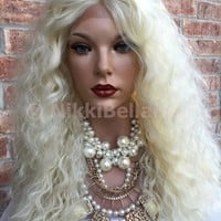LANA~ Light Blonde Hair Wavy Lace Part Front Wig 18""