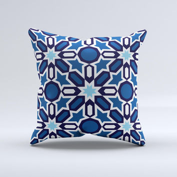 Blue and White Mosaic Mirrored Pattern ink-Fuzed Decorative Throw Pillow