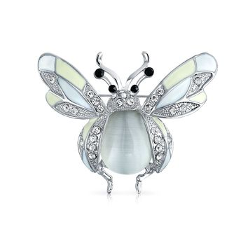 Dragonfly Insect Brooch Pin White Enamel Crystal Rhodium Plated Alloy