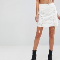 Urban Bliss Lace Up Denim Mini Skirt at asos.com