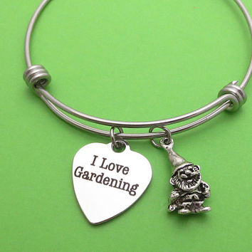 I Love Gardening, Garden gnome, Silver, Bangle, Bracelet, Birthday, Lovers, Friends, Mom, Sister, Christmas, New year, Gift