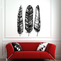 Wall Decal Feathers Native American Decals Vinyl Stickers Nature Wall Art Living Room Bedroom Dorm Bohemian Tribal Pattern Home Decor 0059