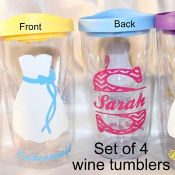 Set of 4 - Bridesmaids gifts - Personalized WINE GLASS TUMBLERS, vino2go tumblers, for your wedding party, bridal gift, maid of honor gift