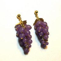Grape Cluster Dangle Earrings Purple Beaded Gold Tone Posts