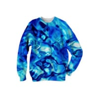 Glistening blue Water Texture Sweatshirt created by Blooming Vine Design | Print All Over Me