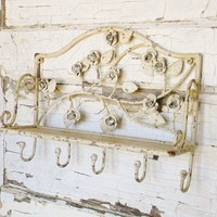 Shabby Chic Chippy Rose Wall Shelf and Hooks - Colorful Cast and Crew