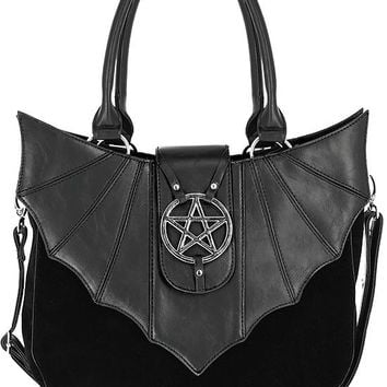 Night Creature Bat wings & Pentagram Black Velvet Gothic Handbag