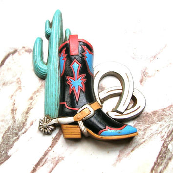 Vintage Cowboy Boot Decoration - Southwestern Decor - Burwood Production Co. - Made in USA - Horseshoes