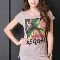 Marled Knit Reggae Graphic Long Tee