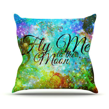 "Ebi Emporium ""Fly Me To The Moon"" Green Blue Throw Pillow"