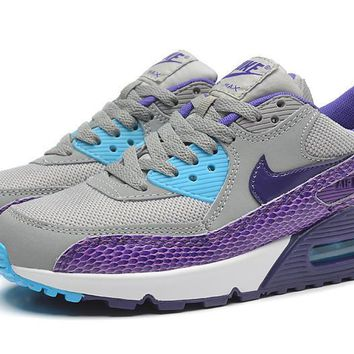 Nike Air Max 90 Running Shoe Essential Grey/Purple Snakeskin