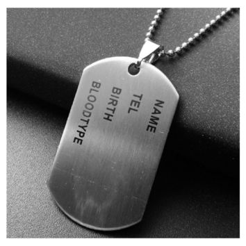 Nameplate Military Army Style Dog Tags Chain Mens Pendant Necklace