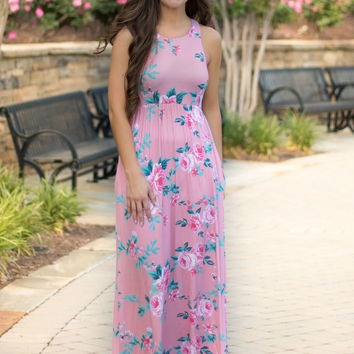 Just Peachy Floral Maxi Dress