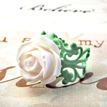 White Cabbage Rose Ring. Adjustable Ring. Resin Rose Ring