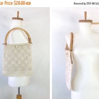 SUMMER SALE 35% off Macrame Bag Summer Purse Vintage Hippie Bag Cream Handbag Boho Shoulder Bag