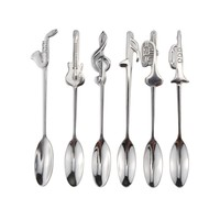 6 Pieces/set Music Unique Design Stainless Steel Coffee spoons