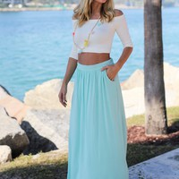 Mint Maxi Skirt with Pockets