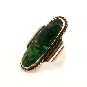 Hopi Indian Sterling and Carico Lake Turquoise Ring