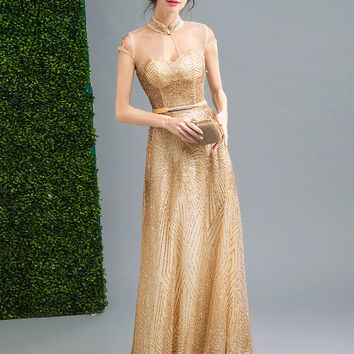 Gold Stand Collar Sequin Embellished Mesh Panel Maxi Prom Dress