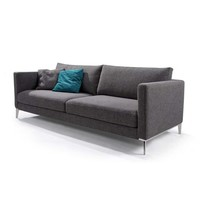 Modern Grey Linen Upholstered Sofa With Metal Legs