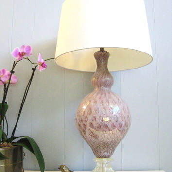 40s MID CENTURY Pink MURANO Glass Lamp by fabulousmess on Etsy