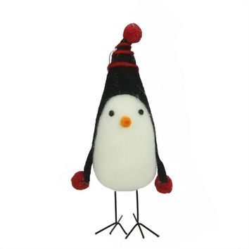 """8"""" Red and Black Felt Bird with Winter Hat Decorative Christmas Ornament"""