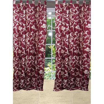 Mogul Printed Maroon Tab Top Curtain Drapes Window Treatment (84x48) - Walmart.com