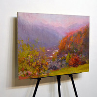 Autumn landscape painting, abstract oil canvas, forest painting, mountain, tree painting, contemporary landscape art, large wall art canvas