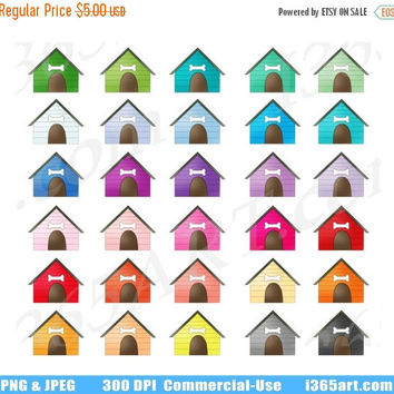 50% OFF Sale Dog House Clipart, Dog House Clip Art, Puppy Dog Bed, Dog lover, Pet, Planner Sticker Graphics, Scrapbooking, PNG, Commercial