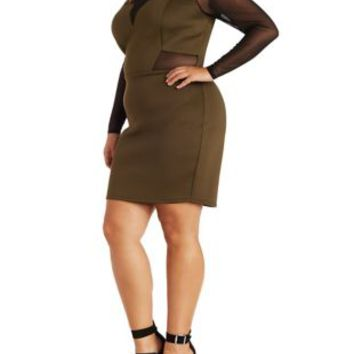 Plus Size Mesh Cut-Out Long Sleeve Dress