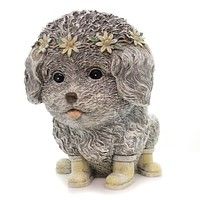 Home & Garden RAINY DAY PUDGY DOG Polyresin Boots Puppy Statue 11317