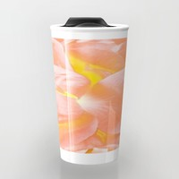The Light Inside Flower Abstract in Peachy Pink Travel Mug by Jen Warmuth Art And Design