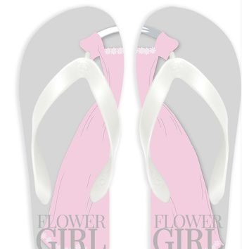 Flower Girl with Gray Background Flip Flops