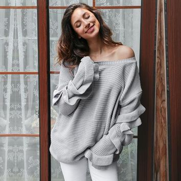 Ruffle Knitted Sweater Pullover Casual Loose Round Neck Winter Jumper