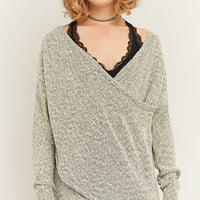 Sparkle & Fade Knitted Grey Surplice Jumper - Urban Outfitters