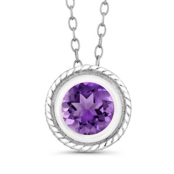 0.75 Ct Round Shape Amethyst 925 Silver Pendant